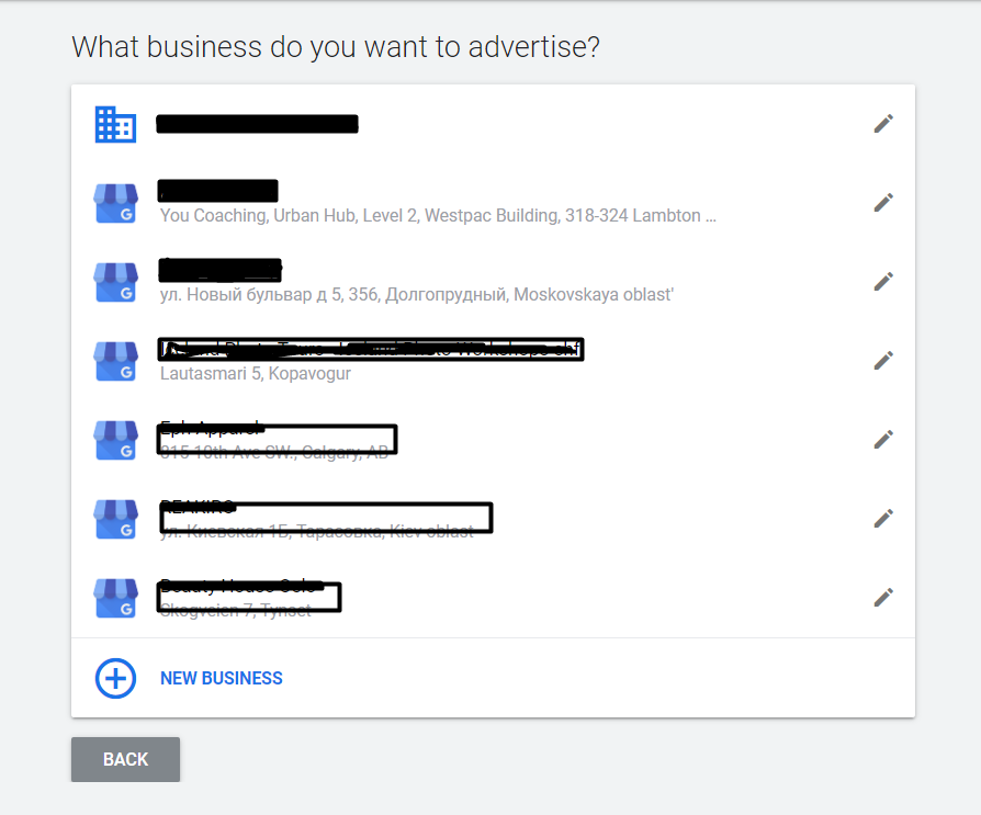 Choosing the business for advertising in a Smart Campaign