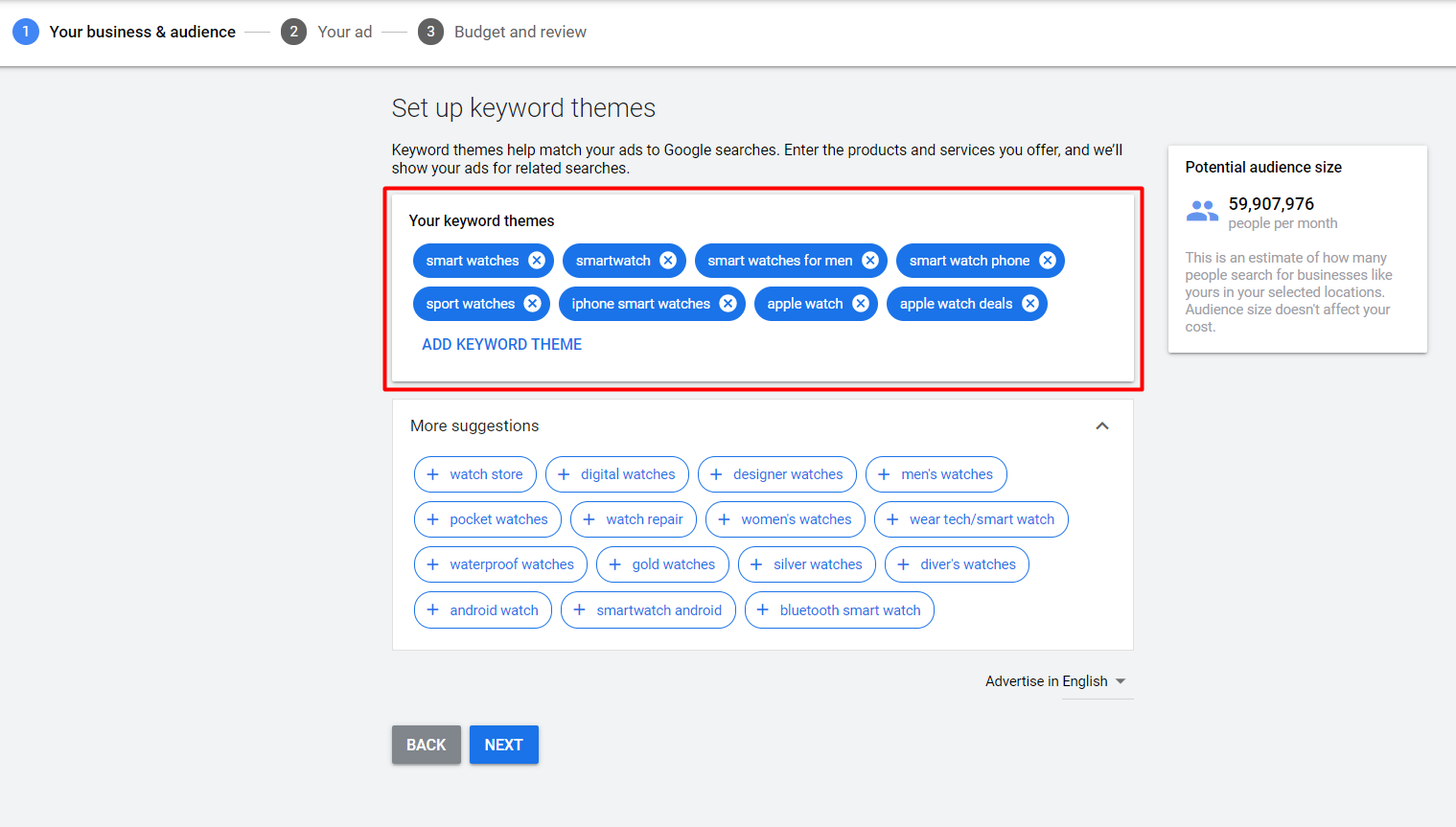 Setting up keyword themes for a smart campaign